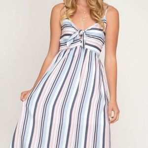MULTI STRIPED WOVEN CAMI DRESS WITH FRONT TIE DETA